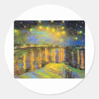 Van Gogh - Starry Night On The Rhone Round Sticker