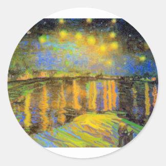 Van Gogh - Starry Night On The Rhone Round Stickers