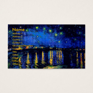 Van Gogh Starry Night Over Rhone  (F474) Fine Art Business Card