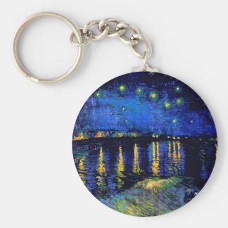 Van Gogh Starry Night Over Rhone  (F474) Fine Art Key Ring