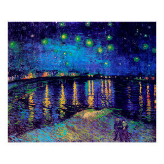 Van Gogh Starry Night Over Rhone  (F474) Fine Art Poster