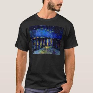 Van Gogh Starry Night Over Rhone  (F474) Fine Art T-Shirt