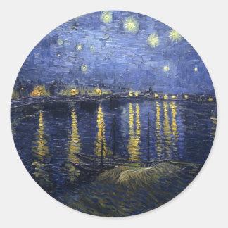 van Gogh - Starry Night Over the Rhone (1888) Round Sticker