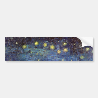 Van Gogh Starry Night Over the Rhone, Fine Art Bumper Sticker