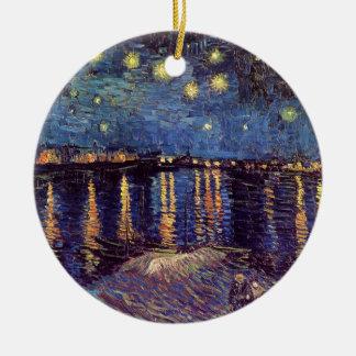 Van Gogh Starry Night Over the Rhone, Fine Art Round Ceramic Decoration