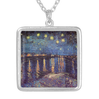 Van Gogh Starry Night Over the Rhone, Fine Art Square Pendant Necklace
