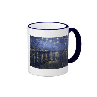 Van Gogh Starry Night Over the Rhone Ringer Coffee Mug