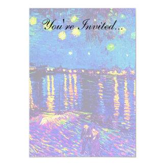 Van Gogh - Starry Night Over The Rhone Pop Art 13 Cm X 18 Cm Invitation Card