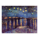 Van Gogh; Starry Night Over the Rhone, Vintage Art Personalized Invite