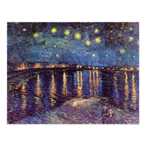 Van Gogh; Starry Night Over the Rhone, Vintage Art Personalized Invites