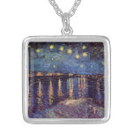 Van Gogh; Starry Night Over the Rhone, Vintage Art Necklace