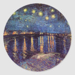 Van Gogh Starry Night Over the Rhone, Vintage Art Round Stickers