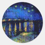 Van Gogh Starry Night Rhone (F474) Fine Art Round Sticker
