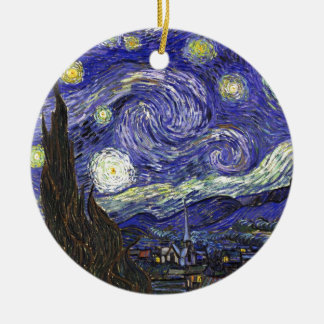 Van Gogh Starry Night Round Ceramic Decoration