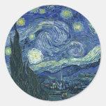 Van  Gogh Starry Night Round Stickers