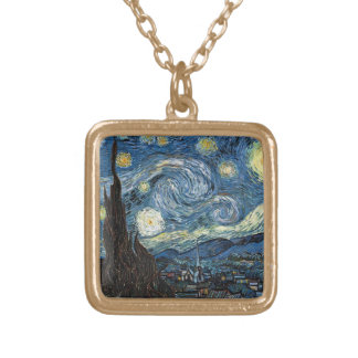 Van Gogh Starry Night Square Pendant Necklace