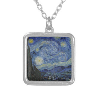Van Gogh - Starry Night Square Pendant Necklace