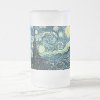 Van gogh starry night vector frosted glass beer mug