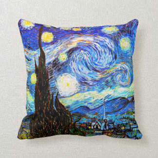 Van Gogh Starry Night Vintage Fine Art Throw Pillow