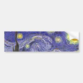 Van Gogh Starry Night, Vintage Fine Art Landscape Bumper Sticker