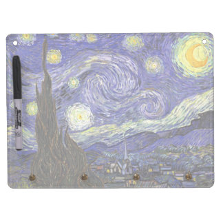 Van Gogh Starry Night, Vintage Fine Art Landscape Dry Erase Board With Key Ring Holder