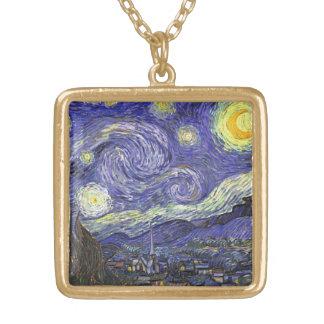 Van Gogh Starry Night, Vintage Fine Art Landscape Gold Plated Necklace