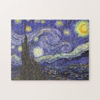 Van Gogh Starry Night, Vintage Fine Art Landscape Jigsaw Puzzle