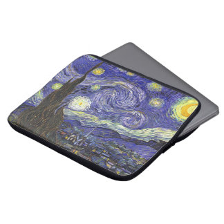 Van Gogh Starry Night, Vintage Fine Art Landscape Laptop Sleeve