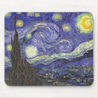 Van Gogh Starry Night, Vintage Fine Art Landscape Mouse Mat