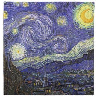 Van Gogh Starry Night, Vintage Fine Art Landscape Napkin
