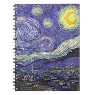 Van Gogh Starry Night, Vintage Fine Art Landscape Notebooks