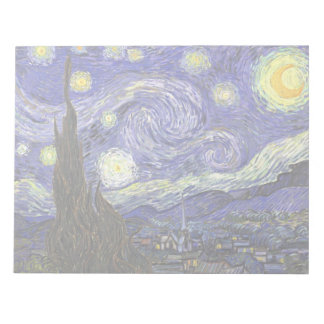 Van Gogh Starry Night, Vintage Fine Art Landscape Notepad