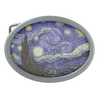Van Gogh Starry Night, Vintage Fine Art Landscape Oval Belt Buckle