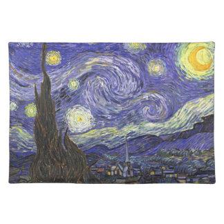 Van Gogh Starry Night, Vintage Fine Art Landscape Placemat