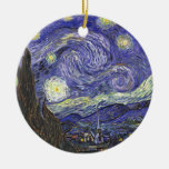 Van Gogh Starry Night, Vintage Fine Art Landscape Round Ceramic Decoration