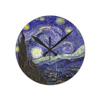 Van Gogh Starry Night, Vintage Fine Art Landscape Round Clock