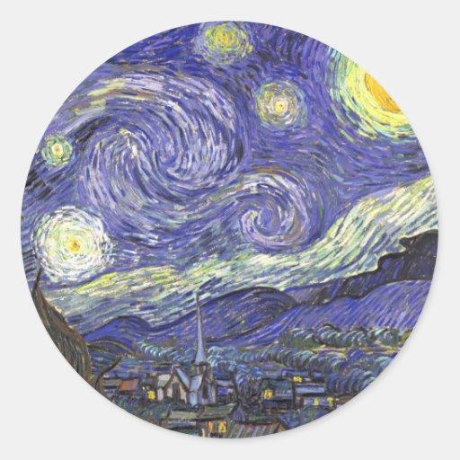 Van Gogh Starry Night, Vintage Fine Art Landscape Round Sticker