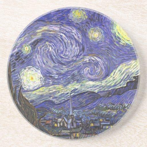 Van Gogh Starry Night, Vintage Fine Art Landscape Sandstone Coaster