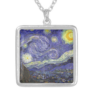 Van Gogh Starry Night, Vintage Fine Art Landscape Silver Plated Necklace