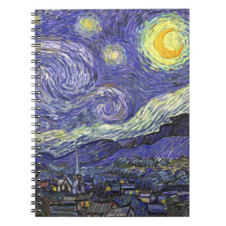 Van Gogh Starry Night, Vintage Fine Art Landscape Spiral Notebooks