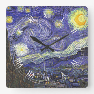 Van Gogh Starry Night, Vintage Fine Art Landscape Square Wall Clock