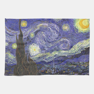 Van Gogh Starry Night, Vintage Fine Art Landscape Tea Towel