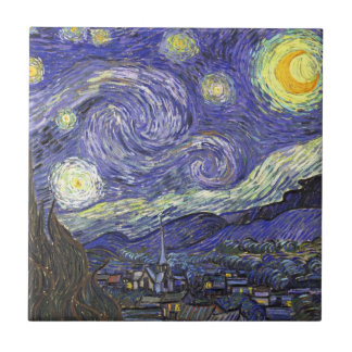 Van Gogh Starry Night, Vintage Fine Art Landscape Tile