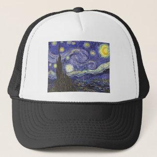 Van Gogh Starry Night, Vintage Fine Art Landscape Trucker Hat