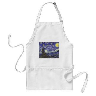 Van Gogh Starry Night, Vintage Landscape Art Aprons
