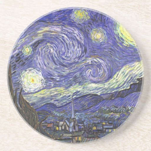Van Gogh Starry Night, Vintage Landscape Art Sandstone Coaster