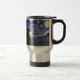 Van Gogh Starry Night, Vintage Landscape Art 15 Oz Stainless Steel Travel Mug