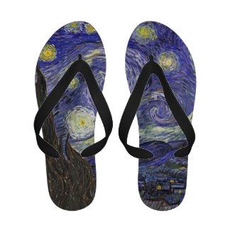 Van Gogh Starry Night Vintage Post Impressionism Flip-Flops