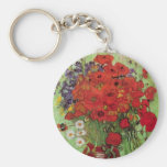 Van Gogh Still Life Flower Red Poppies and Daisies Basic Round Button Key Ring