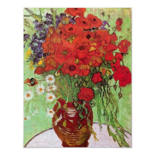 Van Gogh Still Life Flower Red Poppies and Daisies Custom Invitation